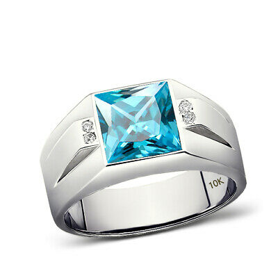 Mens Left Hand Ring Real 10K White Gold Aquamarine and 4 Diamonds Ring For Man