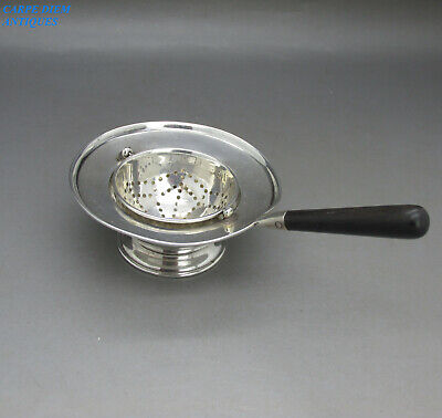 Antique Unusual Hinged Solid Sterling Silver Tea Strainer & Stand S&M Birm 1912