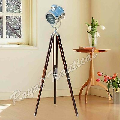 Nautical Chrome Finish Spot Light Tripod Floor Lamp Stand Home & Office Decor