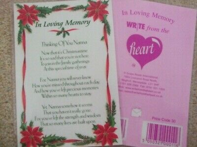 "In Loving Memory ""Thinking Of You Nanna"" Xmas Graveside Memorial Card"