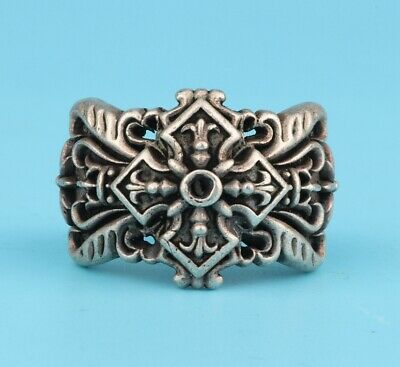 Unique Chinese Tibet Silver Hand-Carved Flower Ring Auspicious Gift Collection