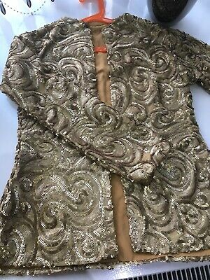 Pakistani/Indian wedding party dress size S/M heavily embellished Jacket Gold