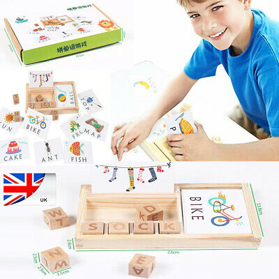 UK Baby 3-in-1toy Words Spell Learning Game Wooden English  Enlightenment child