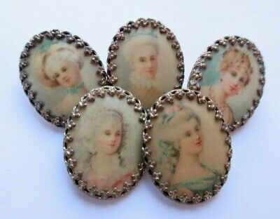 Exceptional Lot of 5 Antique Celluloid Lithograph in Metal BUTTONS Ladies Heads