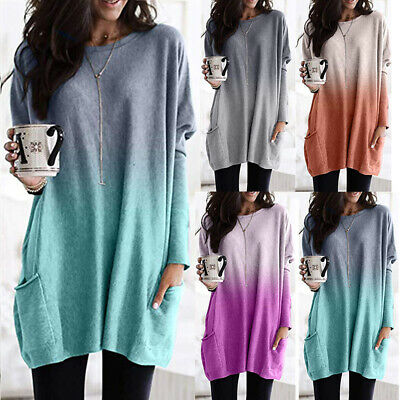 Women Gradient Pocket Tunic Tops Ladies Baggy Long Sleeve Blouse Pullover Jumper