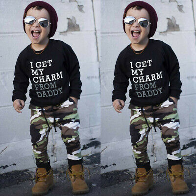 Winter Toddler Kids Baby Boys T Shirt Tops+Camouflage Pant Outfit Clothes Set US