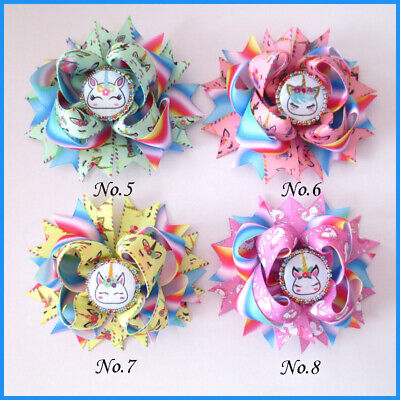 "16 BLESSING Good Girl Boutique 4.5"" Princess Hair Bow Clip Rainbow Unicorn"