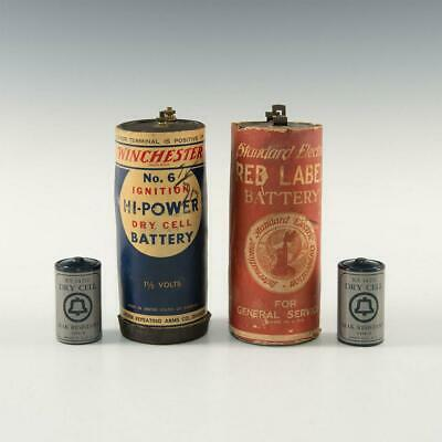 4 Antique Dry Cell Batteries, Union Carbide, Winchester
