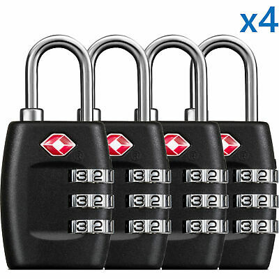 4 x TSA Lock Travel Luggage 3 Digit Combination Resettable NEW (4 pcs)