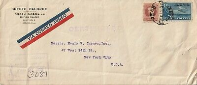 1933 Cuba oversize registered cover sent to New York USA
