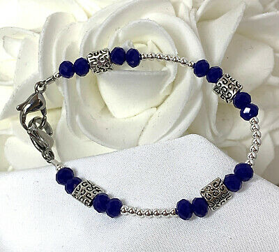 Blue Crystal Silver Decorative Medical ID Alert Replacement Bracelet! (MA114)