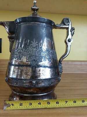 Antique Silverplate JA s Stimpson 1854 triple plate # 22 ICE WATER Pitcher