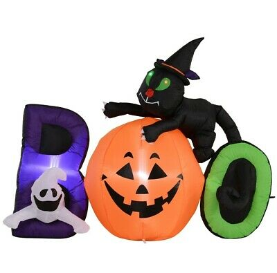 HOMCOM 5.5' Lighted Inflatable Outdoor Halloween Yard Decoration - Boo Black Cat