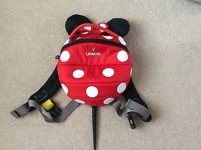 Used Once Little Life Disney Minnie Mouse Reins Backpack Excellent Condition