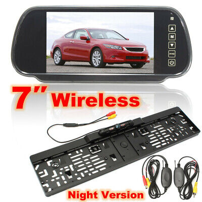 Wireless 7″ TFT LCD Mirror Monitor + Rear Reverse Camera EU License Number Plate