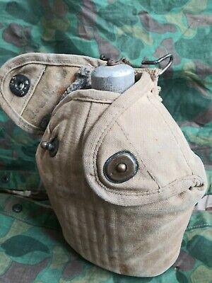 WW1 / WW2 Usmc named depot made p1912 cover w/ 1942 canteen. High mounted hook