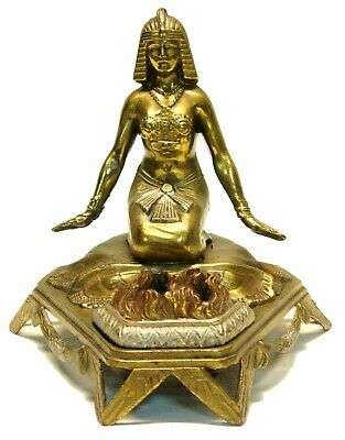 Antique/Vintage Art Deco Egyptian Revival Scarab Woman Vantines Incense Burner