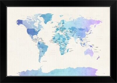 "Black Framed Art Print ""Watercolour Political Map of the World"""