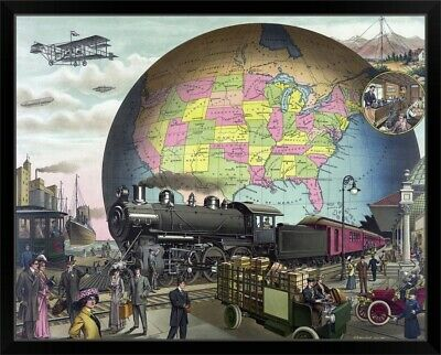 """1910 /""""20th Century Transportation/"""" Classic Vintage Style Poster 24x30"""