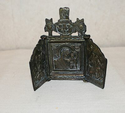 Antique Bronze Russian Orthodox Christian Triptych Icon Jesus Mary St. George