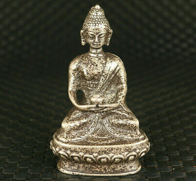 Asian old copper hand carved Tibet Buddha statue netsuke collectable decoration