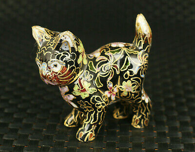 Chinese rare old cloisonne hand carved lovely cat statue collectable ornament