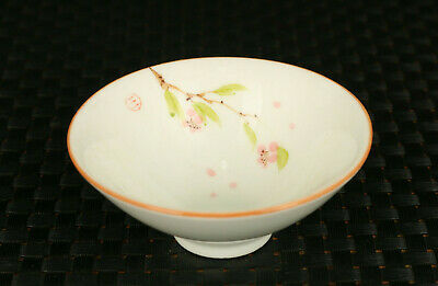 Chinese old jingdezhen porcelain hand painted cherry statue tea cup wine bowl