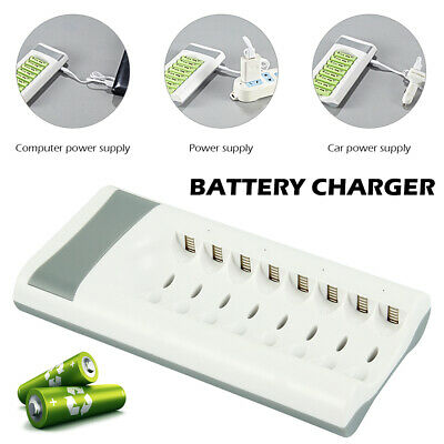 8 Bay Battery Charger for AA AAA Ni-MH Ni-CD Rechargeable Batteries Indicator AU