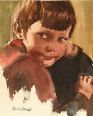 """Watercolor Pacific Northwest Artist Jackie Brooks """"Small Boy"""" 9 13/16"""" x 8 7/16"""""""
