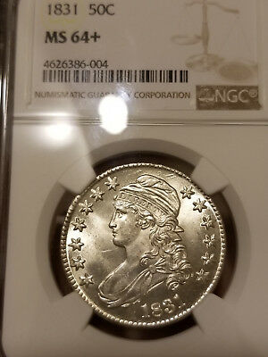 Fantastic 1831 Capped Bust Half Dollar NGC MS 64+.. Rare Beauty