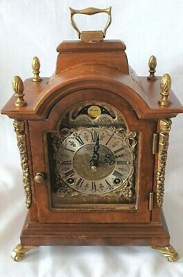 Warmink Mantel Clock Movement Double Bell, Rolling Moon Dial Silent Option.