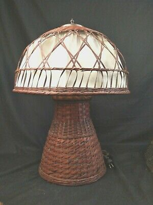 "Arts Crafts Antique Copper Wicker Stickley era Large Lamp 25""h 18""dia 11"" d base"