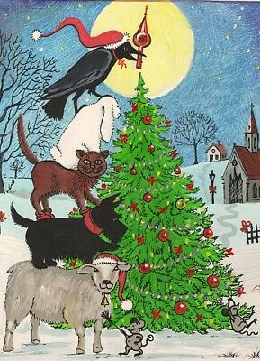Aceo Crow Ryta Print Of Painting Xmas Cat Folk Sheep Rabbit Mouse Mice Tree Pets