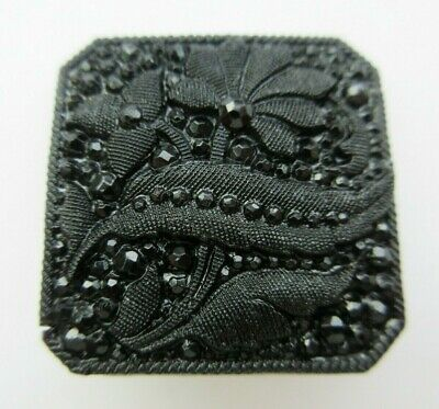 Stunning LARGE Antique~ Vtg Victorian Black GLASS BUTTON Lacy Faceted Square (F)