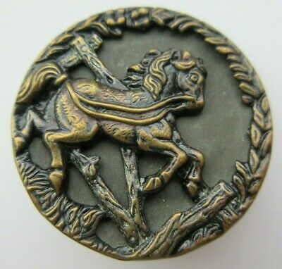 Flawless XL Antique~ Vtg Victorian Metal Picture BUTTON Horse & Broken Fence (F)