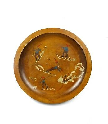HANDPAINTED ANTIQUE ART NOUVEAU FUNNY SKIING painting WALL PLATE 1900 SIGNED