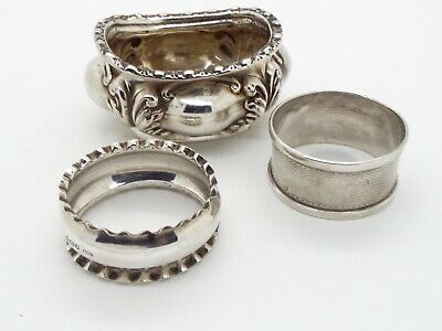 Hallmarked Chester Sterling Silver Salt & 2 x Hallmarked Silver Napkin Rings