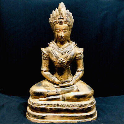 Large Asia Khmer Thailand Gilded King Buddha Statue Bronze Relic 14th C 513 mm