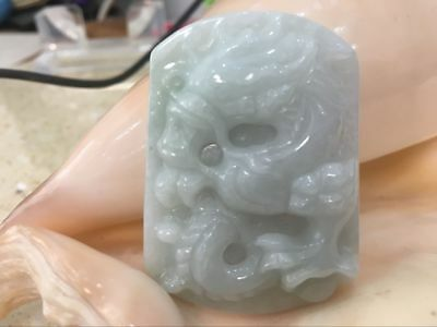 Certified 100% Natural A Light Green jadeite jade Hand-carved Pendant Dragon1332
