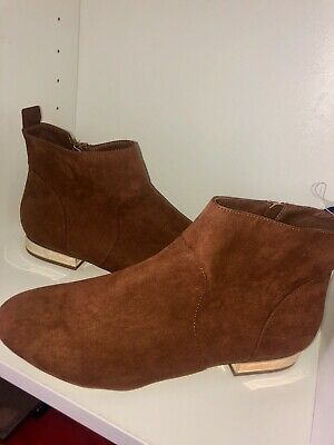 BNWT Womens Boots Size 7 Brown Suede Short Ankle New Ladies