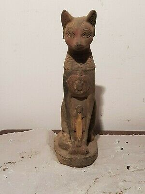 Rare Antique Ancient Egyptian Statue Goddess Bastet cat Isis Scarab 1740-1650BC