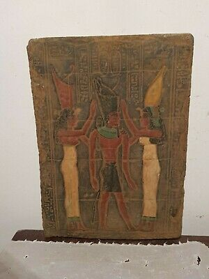 Rare Antique Ancient Egyptian Stela God Isis & King Ahmose Unit Egypt1549–1524BC