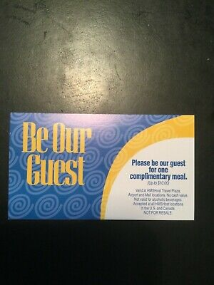 Five $10 HMSHost Gift Certificates Valid at US Most Airports Not a Lounge Pass