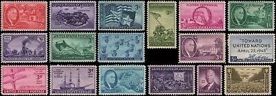 US #922-938 MH 1944-1945 commemorative year set of 17 stamps