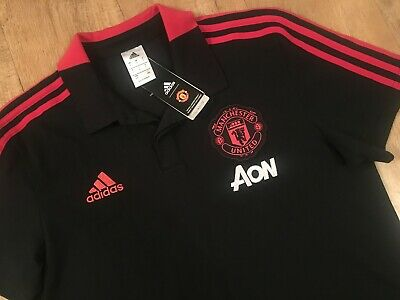 """Adidas Manchester United FC 2018/19 Polo Shirt Mens LARGE (40""""-42"""" Chest) *NEW*"""