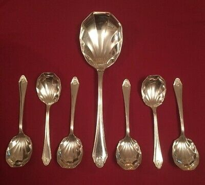 Set Of Antique Silver Plated Dessert Spoons By Israel Sigmund Greenberg c.1890's