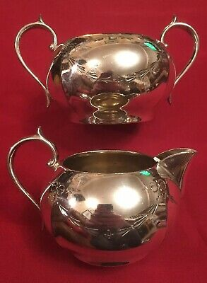 Antique Edwardian Silver Plated Sugar Bowl & Creamer, Hutton & Sons c.1900-1910