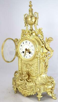 Large Antique French Mantle Clock Stunning 1880's Embossed 8 day Gilt Bronze