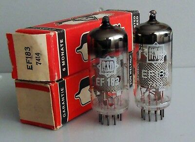 Matched pair RSD EF183 (6EH7) tubes, NIB, excellent condition, made by RFT