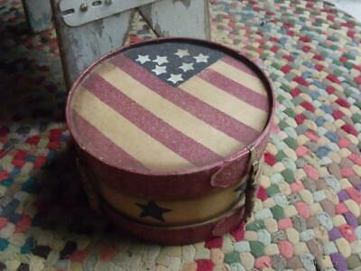 Small Primitive Patriotic Decorative Cheesebox Drum Old Glory Red White & Blue